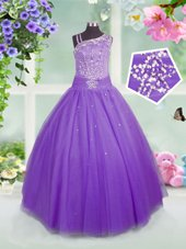 Custom Design Asymmetric Sleeveless Tulle Juniors Party Dress Beading Side Zipper