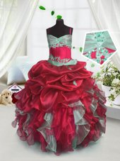 Latest Red Organza Lace Up Spaghetti Straps Sleeveless Floor Length Girls Pageant Dresses Beading and Ruffles