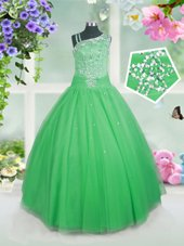 High Quality Floor Length Green Little Girls Pageant Dress Wholesale Tulle Sleeveless Beading