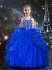 Apple Green Ball Gowns Beading Little Girls Pageant Dress Side Zipper Tulle Sleeveless Floor Length