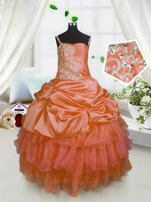 Pick Ups Ruffled One Shoulder Sleeveless Lace Up Womens Party Dresses Orange Satin and Tulle