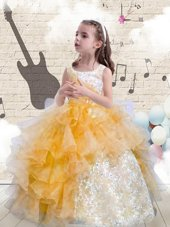 Scoop Orange Sleeveless Organza Lace Up Party Dress for Girls for Party and Wedding Party