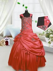 Sleeveless Lace Up Floor Length Beading and Pick Ups Little Girls Pageant Dress Wholesale