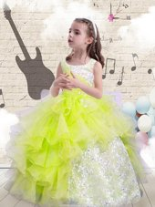 Custom Designed Scoop Yellow Green Sleeveless Beading and Ruffles Floor Length Kids Formal Wear