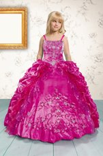 Pick Ups Hot Pink Sleeveless Satin Lace Up Girls Pageant Dresses for Military Ball and Sweet 16 and Quinceanera