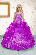 Fuchsia Ball Gowns Beading and Appliques and Pick Ups Little Girls Pageant Dress Lace Up Satin Sleeveless Floor Length