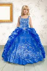Blue Spaghetti Straps Lace Up Beading and Appliques and Pick Ups Little Girls Pageant Dress Wholesale Sleeveless