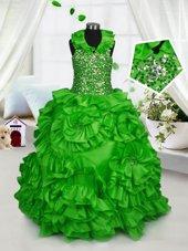 Cheap Ball Gowns Taffeta Halter Top Sleeveless Beading and Ruffles Floor Length Zipper Girls Pageant Dresses