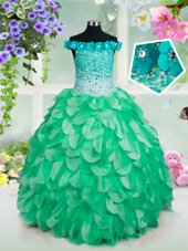 Fashionable Off the Shoulder Green Sleeveless Floor Length Beading and Hand Made Flower Lace Up Little Girls Pageant Gowns