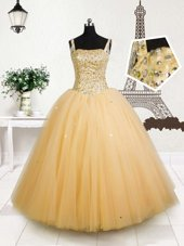 Sleeveless Lace Up Floor Length Beading and Appliques and Pick Ups Kids Formal Wear