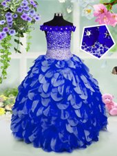 Off the Shoulder Royal Blue Sleeveless Beading and Hand Made Flower Floor Length Pageant Gowns For Girls