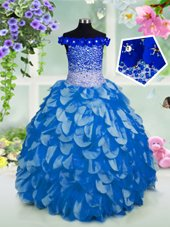 Beautiful Off the Shoulder Short Sleeves Beading and Sashes|ribbons and Sequins Lace Up Girls Pageant Dresses