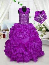 Taffeta Halter Top Sleeveless Zipper Beading Little Girl Pageant Gowns in Purple