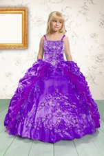 Classical Floor Length Lace Up Little Girl Pageant Dress Purple and In for Party and Wedding Party with Beading and Appliques and Pick Ups