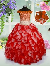 Off the Shoulder Red Organza Lace Up Little Girl Pageant Gowns Sleeveless High Low Beading and Hand Made Flower