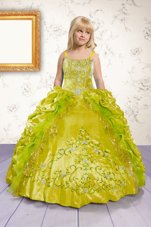 Popular Floor Length Apple Green Party Dress for Toddlers Satin Sleeveless Beading and Appliques and Pick Ups
