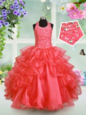 Halter Top Ruffled Watermelon Red Sleeveless Organza Lace Up Pageant Gowns For Girls for Party and Wedding Party