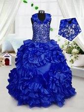 Halter Top Royal Blue Ball Gowns Beading and Ruffles Pageant Gowns For Girls Zipper Taffeta Sleeveless Floor Length