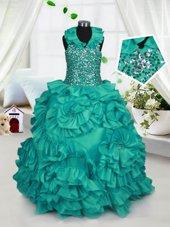 Charming Halter Top Taffeta Sleeveless Floor Length Party Dress for Girls and Beading and Ruffles