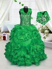 Green Ball Gowns Taffeta Halter Top Sleeveless Beading and Ruffles Floor Length Zipper Kids Pageant Dress