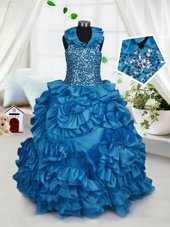 Teal Party Dress for Girls Party and Wedding Party and For with Beading and Ruffles Halter Top Sleeveless Zipper