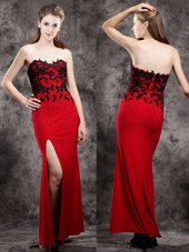 Elegant Ankle Length Red Homecoming Dress Elastic Woven Satin Sleeveless Beading and Appliques