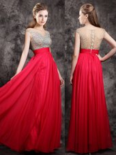 Coral Red Empire Chiffon V-neck Cap Sleeves Beading Floor Length Zipper Prom Evening Gown