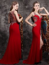 Designer Sleeveless Brush Train Appliques Zipper Prom Dresses