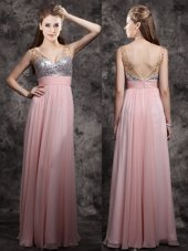 Baby Pink Sleeveless Beading and Sequins Floor Length