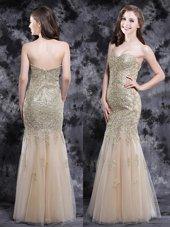 Sexy Mermaid Sweetheart Sleeveless Zipper Evening Dress Champagne Tulle