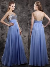 Fantastic Beading and Sequins Prom Evening Gown Lavender Zipper Sleeveless Floor Length