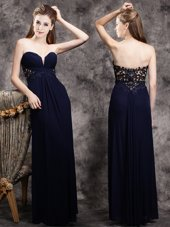Inexpensive Navy Blue Chiffon Zipper Prom Dress Sleeveless Floor Length Appliques