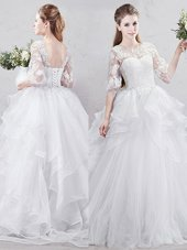 New Style Tulle Scoop Half Sleeves Brush Train Lace Up Lace and Ruffles Wedding Gowns in White