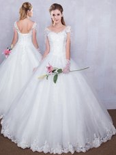 Lovely White Ball Gowns Lace Wedding Gown Lace Up Tulle Short Sleeves Floor Length
