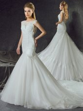 Custom Designed Mermaid Scoop Sleeveless Wedding Dress With Train Court Train Lace and Appliques White Tulle