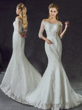 Cheap Mermaid Off the Shoulder White Tulle Lace Up Wedding Dresses Half Sleeves With Brush Train Lace and Appliques