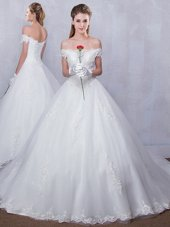 Scalloped Lace Wedding Gown White Lace Up Sleeveless With Train Court Train