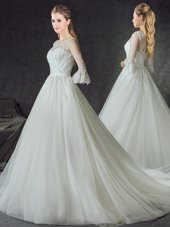 Glamorous Scoop 3 4 Length Sleeve Tulle With Train Court Train Zipper Wedding Dresses in White for with Lace