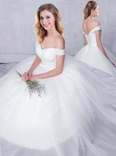 White Off The Shoulder Neckline Bowknot Bridal Gown Sleeveless Lace Up