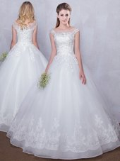 White Scoop Lace Up Lace Wedding Dresses Cap Sleeves