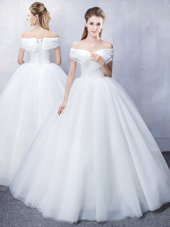 Best Off the Shoulder Ruffled Tulle Short Sleeves Floor Length Wedding Gown and Ruching