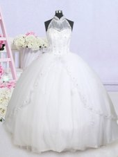 Mermaid Scoop White Tulle Lace Up Wedding Dresses Sleeveless With Train Court Train Lace and Appliques