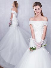 Suitable Off the Shoulder With Train Mermaid Sleeveless White Wedding Dress Court Train Lace Up