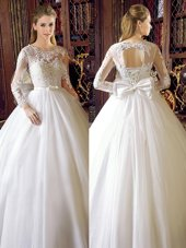 White Scoop Neckline Lace and Bowknot Wedding Gown Long Sleeves Lace Up