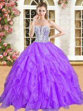 New Style Purple Sleeveless Floor Length Beading and Ruffles Lace Up Sweet 16 Quinceanera Dress