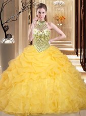 New Arrival Halter Top Floor Length Lace Up Ball Gown Prom Dress Yellow and In for Military Ball and Sweet 16 and Quinceanera with Beading and Ruffles and Pick Ups