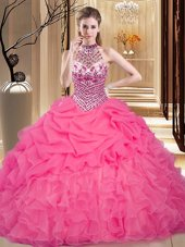 Halter Top Hot Pink Sleeveless Floor Length Beading and Ruffles and Pick Ups Lace Up Quince Ball Gowns
