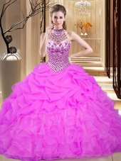 Cute Halter Top Lilac Lace Up Quinceanera Dresses Beading and Ruffles and Pick Ups Sleeveless Floor Length