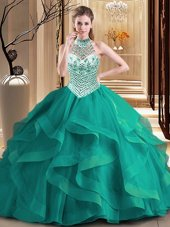 Halter Top Dark Green Sleeveless With Train Beading and Ruffles Lace Up Sweet 16 Quinceanera Dress
