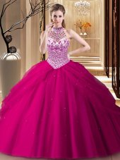 Free and Easy Halter Top With Train Fuchsia 15th Birthday Dress Tulle Brush Train Sleeveless Beading and Pick Ups